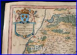 BLAEU 1635 Old map of l'isle de France (Paris) Antique map