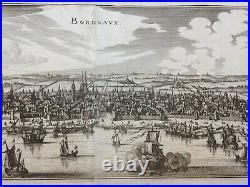 BORDEAUX FRANCE XVIIe SIECLE 1655 MATHAEUS MERIAN LARGE ANTIQUE VIEW