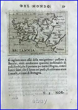BRITANNIA, (Brittany), Ortelius' map, Italian edition pocket atlas, 1667ca