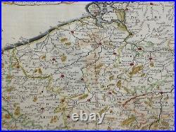 Belgium France Holland 1648 Nicolas Sanson Unusual Large Antique Map In Colors