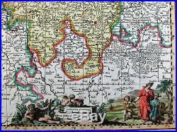 Belgium Holland Netherlands France c. 1700 Visscher old antique map cartouche