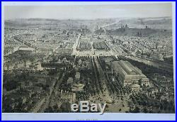 Birds-Eye View of Paris France in 1860 Large Antique print map, city gardens