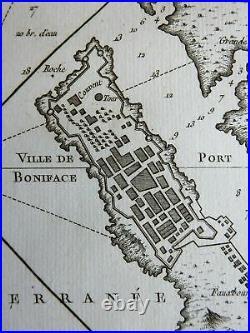 Bonifacio Corsica France detailed city plan gardens 1760 Bellin map