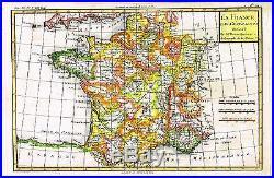 Bonne Raynal's Hand-Col'd Atlas de Toutes -LA FRANCE PAR GENERALITIES -1780