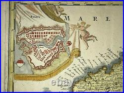 Bretagne Brittany France 1716 Jb Homann Large Antique Map In Colors 18th Century