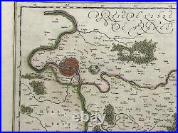 Brie Paris France 1640 Willem Blaeu Unusual Large Antique Map 17th Century