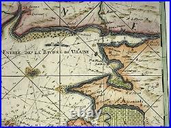 Brittany Bretagne Morbihan France 1699 Van Keulen Large Unusual Antique Map