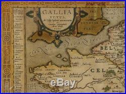 C1590 Julius Caesar Gallia Vetus Map of Gaul by Ortelius