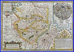 C1630 Original Antique Map FRANCE LIMOGES LIMOUSIN Totius Lemovici Hondius LM5