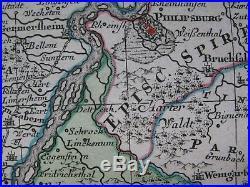 C1730 Seutter Alsatia map Germany Deutschland Elsass Alsace France Strasbourg