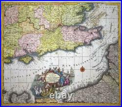 C1740 Large ENGLISH CHANNEL Map Portland to Dover Thames FRANCE Seutter (LM2)