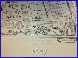 CHERBOURG FRANCE HAND SIGNED PIERRE LE CONTE LARGE PICTORIAL PLAN 20e CENTURY
