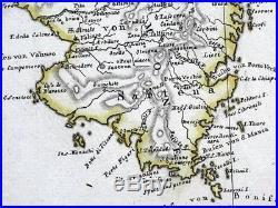 CORSICA, CORSE, FRANCE Gaspari original hand coloured antique map 1804