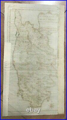 CORSICA FRANCE 1760 NICOLAS BELLIN NICE ANTIQUE ENGRAVED MAP 18e CENTURY
