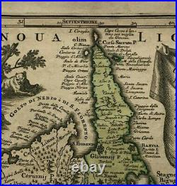 CORSICA FRANCE by MATHEUS SEUTTER 1730 UNUSUAL LARGE ANTIQUE MAP 18TH CENTURY
