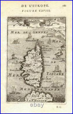CORSICA.'Isle de Corse'. Elba. Decorative. France. MALLET 1683 old map