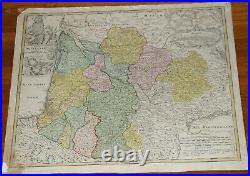 C 1730s Homann Heirs map of Southwest France Antique 24 x 20.5