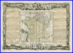 Carte Itineraire et Générale de France. Key map. DESNOS/DE LA TOUR 1771