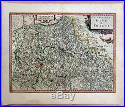 Carte ancienne JANSSONIUS antique map 17e ILE DE FRANCE Paris Chartres Beauvais