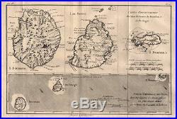 Cartes Particulieres des Isles de France Réunion Mauritius. BONNE 1780 map
