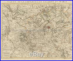 Chartres Etampes Chambly France Vintage Map Covens Mortier 1745 Original