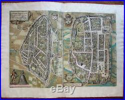 Chartres France city plan c. 1580 Braun & Hogenberg original antique map