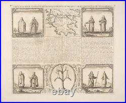 Chatelain Greece Map View of Priests -1718 Atlas Historique Engraving