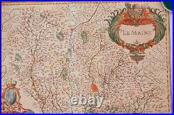 Circa 1633 Hand Colored Engraved Map of Maine Region of France by Jansson