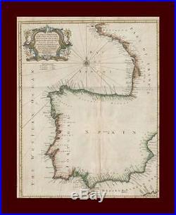 Coastal Map of Spain, Portugal, France, Rapin, Fine Map, Original Antique 1845