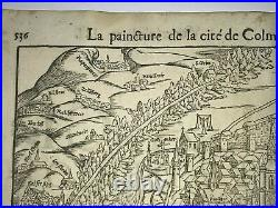 Colmar France 1552 Cosmography Of Munster Large Antique View 16th Century