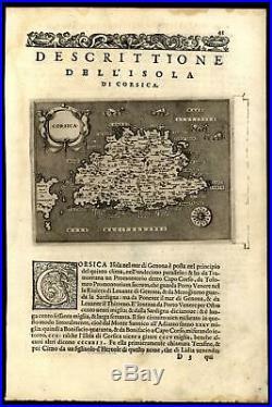 Corsica Mediterranean France Porcacchi 1576 sea monsters decorative early map