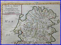 Corsica Sardinia 1654 Nicolas Sanson Large Antique Map In Colors 17th Century