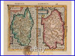 Corsica Sardinia. Old map Mercator Hondius Janssonius 1634
