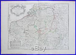De L´Isle Large Map of Belgium Netherlands France Flandria Luxemburg 1702