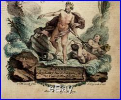 Decorative title page Neptune Miniature 1762 Bonne old hand color map France