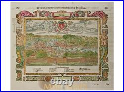 Die Stadt Leon Old Woodcut Lyon France Munster 1628