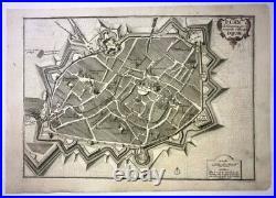 Dijon Bourgogne France 1705 Nicolas De Fer Antique Engraved Plan 18th Century
