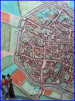Douai Dovay France c. 1580 Braun & Hogenberg city plan large map old hand color