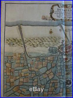 Dunkirk France 1740 Basire Tindal Rapin large military fortifications city plan