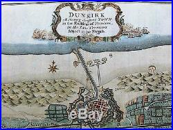 Dunkirk France Normandy D-Day WWII c. 1740 Basire antique color map city plan