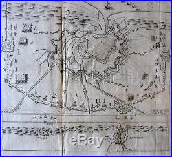 Dunkirk Northern France coast battle map c. 1630 rare broadside Dutch ships