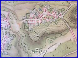 EARLY ink watercolor military map Villeneuve Provence France Vauban fortress