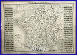FRANCE 1861 A. VUILLEMIN VERY LARGE ANTIQUE & DECORATIVE MAP 19e CENTURY