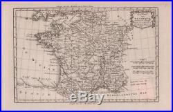 FRANCE, BACHIENE MAP, antique engraving, original 1785