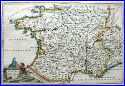 FRANCE GALLIA BY CELLARIUS c1703 GENUINE ANTIQUE COPPER ENGRAVED MAP