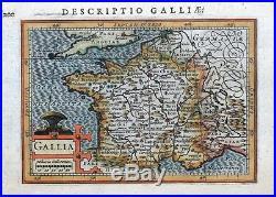 FRANCE, GALLIA, PETRUS BERTIUS original antique hand coloured miniature map 1618