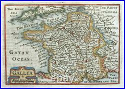 FRANCE, GALLIA, Van Den Keere, Miniature Speed original antique map 1675