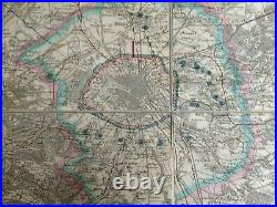 FRANCE PARIS & ENVIRONS 1870 by BRUE VERY LARGE ANTIQUE FOLDING MAP ON LINEN