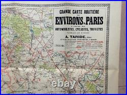 FRANCE PARIS & ENVIRONS 19th CENTURY ANTIQUE WALL MAP by TARIDE