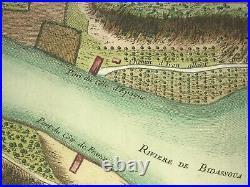 FRANCE SPAIN c. 1745 BIDASSOA RIVER -SET OF 2 RARE ANTIQUE HISTORICAL PLANS